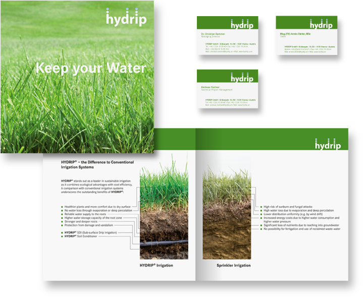 Hydrip-Corporate Design-Informationsfolder-Visitenkarten