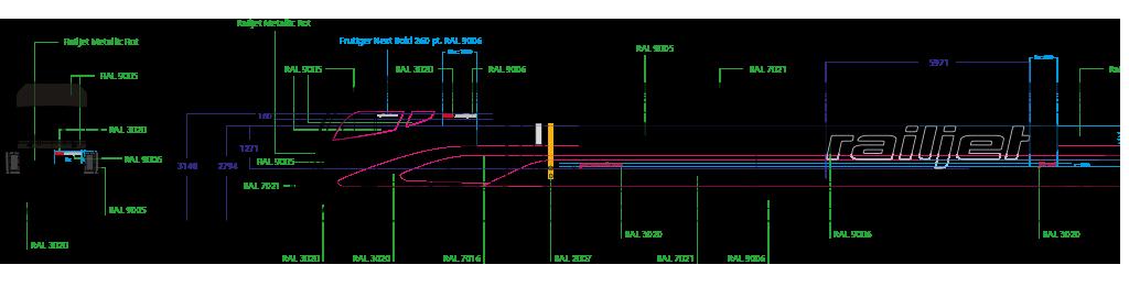 OEBB, Railjet, Faerbelungsplan, exterior design